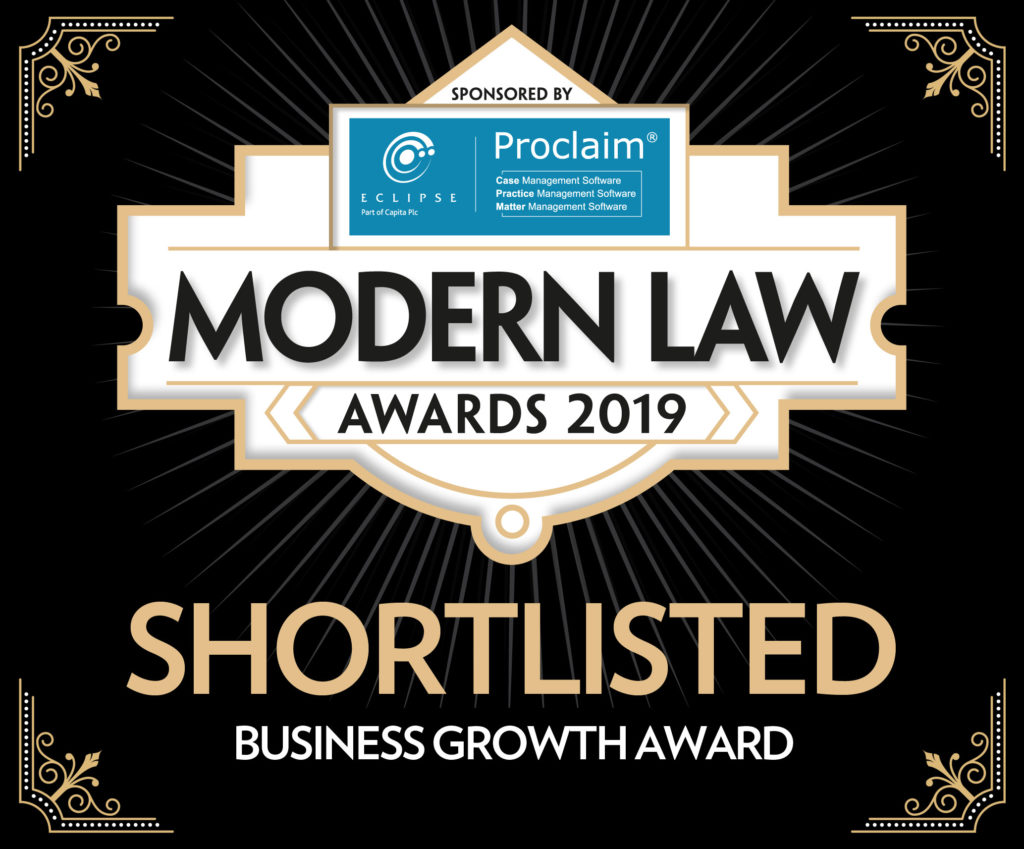 Unpaid genomineerd Modern Law Awards 2019
