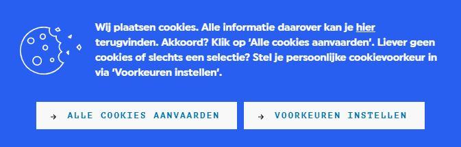 voorbeeld cookiebanner met uitdrukkelijke toestemming